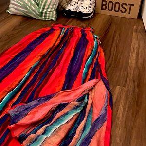 Multi Colour Striped Maxi Skirt